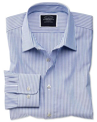 Classic fit non-iron royal blue Bengal stripe Oxford shirt