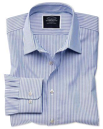 Chemise bleu roi oxford à rayures Bengale coupe droite sans repassage