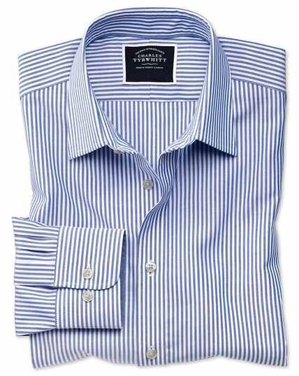 Slim fit non-iron royal blue Bengal stripe Oxford shirt