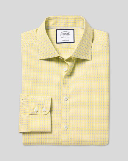 Semi-Cutaway Collar Egyptian Cotton Poplin Multi Check Shirt - Sky & Yellow