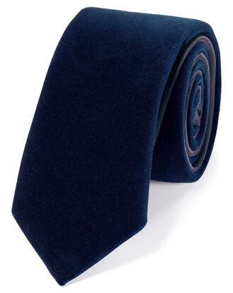 Navy velvet luxury slim tie