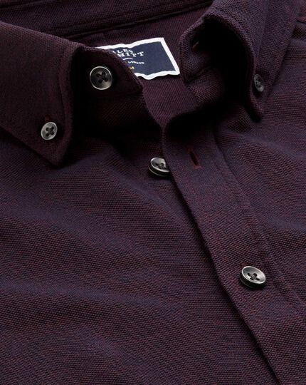 Jersey-Oxfordhemd in Weinrot