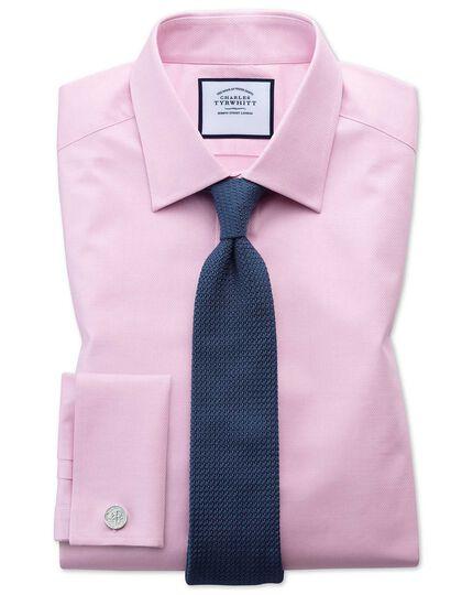 Extra Slim Fit Hemd aus ägyptischer Baumwolle mit Gitterstruktur in Rosa