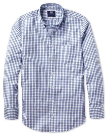 Slim fit navy gingham soft washed non-iron Tyrwhitt Cool shirt