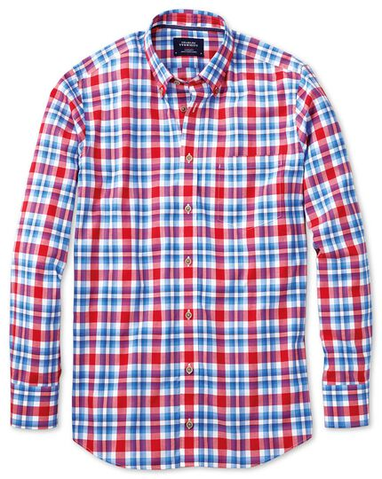 Slim fit button-down poplin sky blue and red check shirt