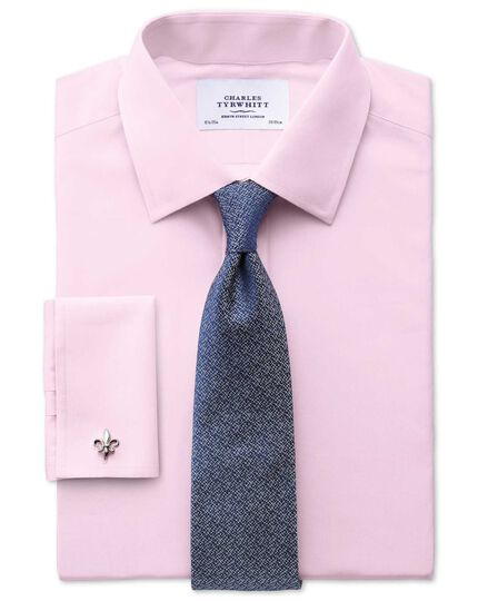Slim fit end-on-end pink shirt