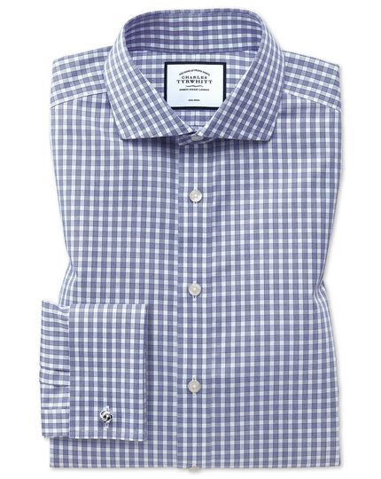 Slim fit non-iron twill gingham blue shirt