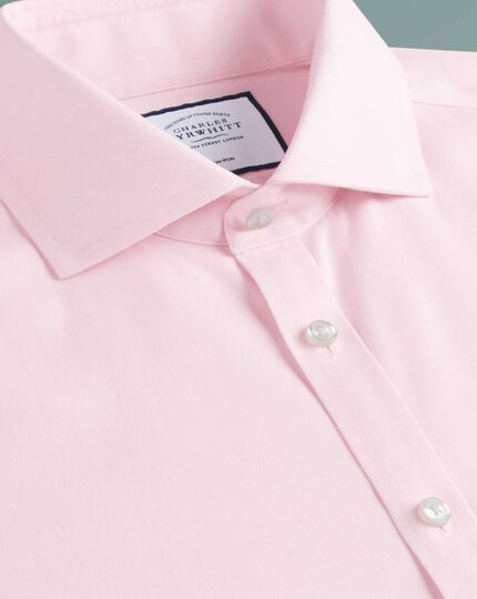 Super slim fit cutaway collar non-iron cotton stretch Oxford pink shirt