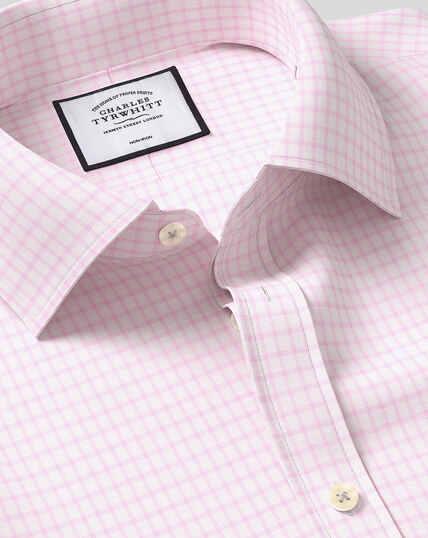 Classic Collar Non-Iron Cotton with TENCEL™ x REFIBRA™ Check Shirt - Pink