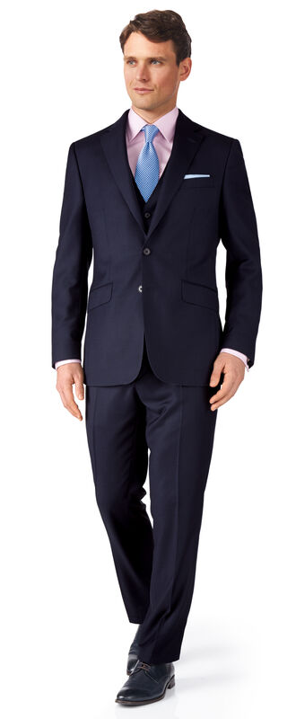 Ink blue birdseye slim fit travel suit