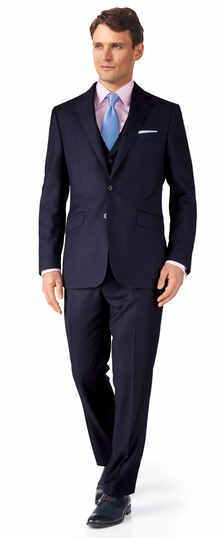 Ink blue birdseye slim fit travel suit