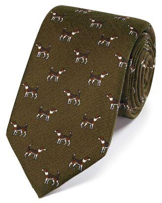 Olive wool pointer dog print English luxury tie