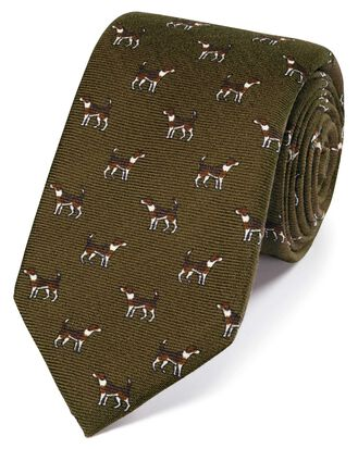 Olive wool pointer dog print English luxury tie