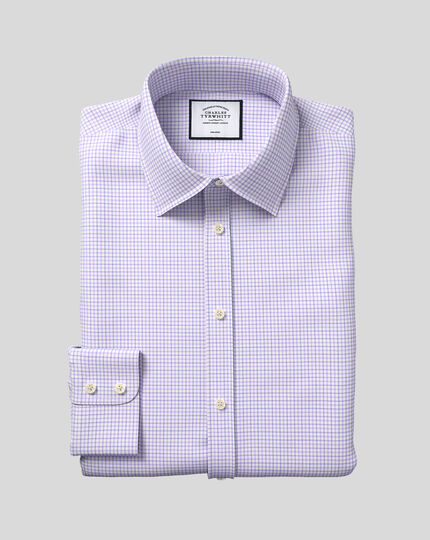 Classic Collar Non-Iron Twill Check Shirt - Lilac