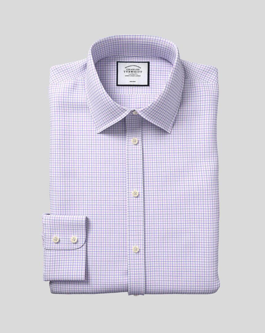Bügelfreies Twill Hemd mit Kent-Kragen und Karos - Lila
