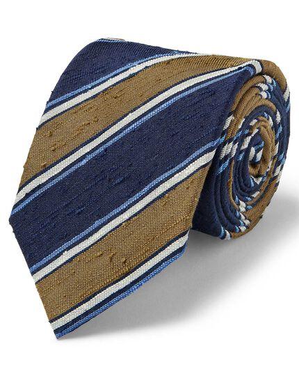 Olive silk slub stripe English luxury tie
