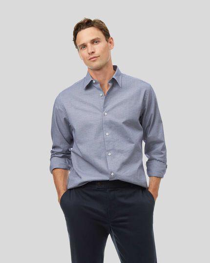 Classic Collar Seasonless Grid Check Shirt - Blue
