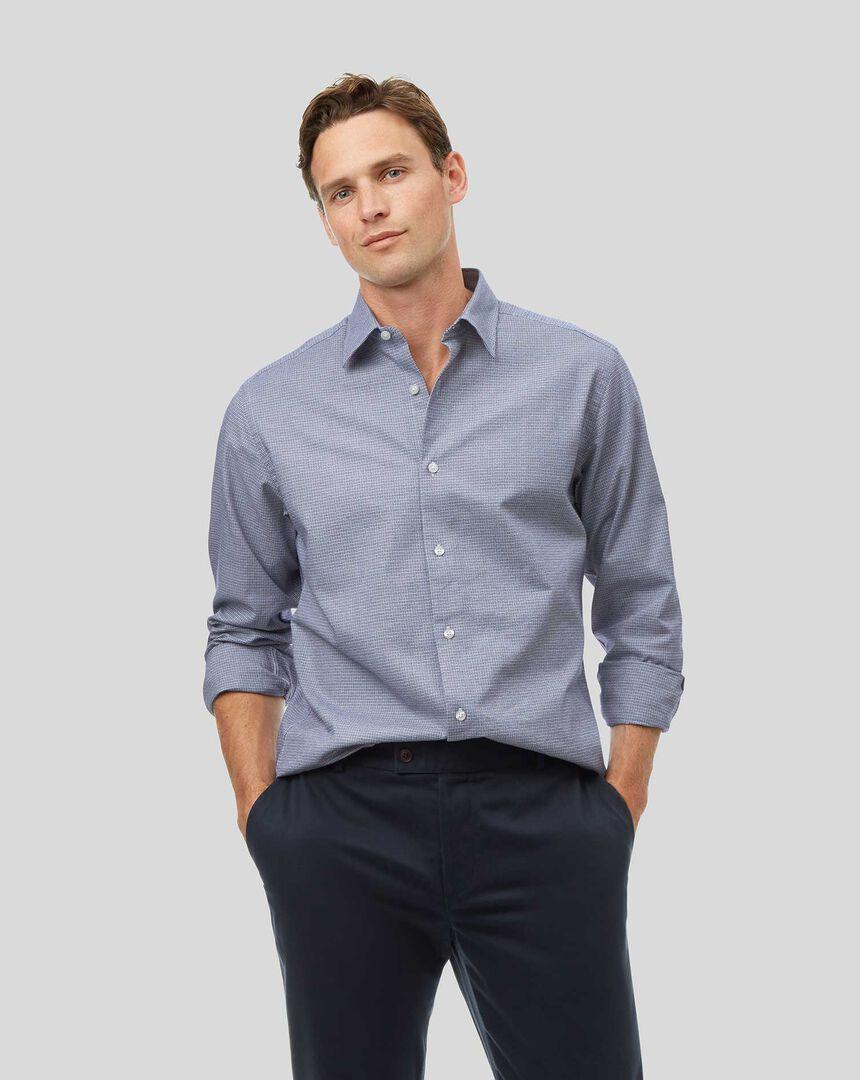 Ganzjährig tragbares strukturiertes Hemd mit Kent Kragen und Gitterkaros - Blau