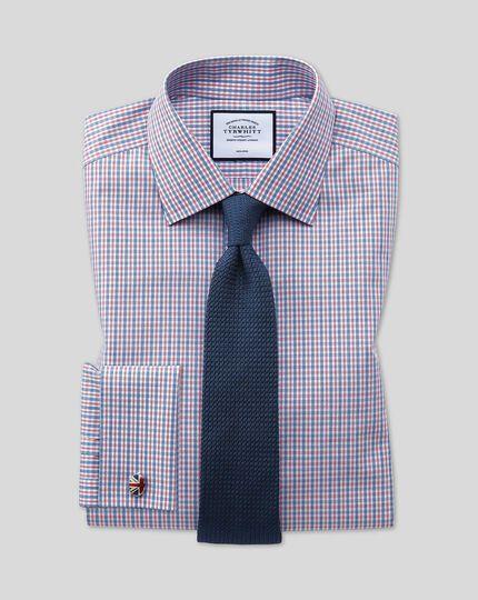 Chemise popeline à carreaux et col classique sans repassage - Bleu et rouge