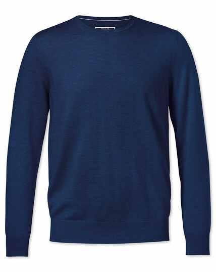 Pull bleu roi en laine mérinos à col rond