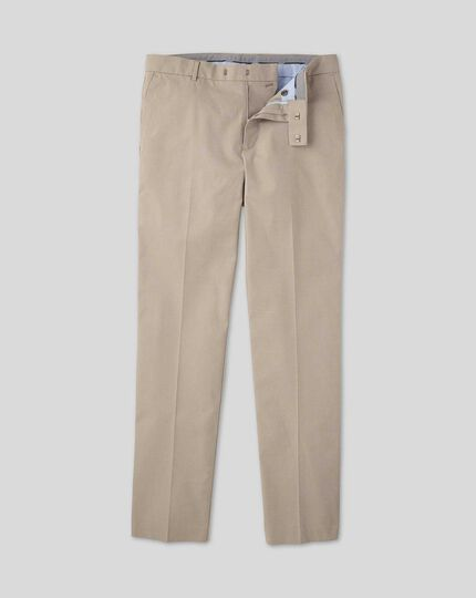 Non-Iron Arrow Weave Stretch Pants  - Stone