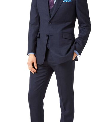 Navy slim fit jaspe business suit