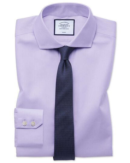 Chemise lilas en twill extra slim fit sans repassage