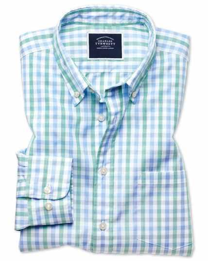 Chemise Tyrwhitt Cool verte et bleue coupe droite à carreaux vichy et délavage doux sans repassage