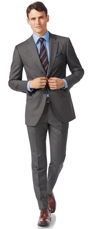 Costume de luxe gris en twill italien slim fit