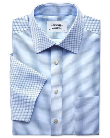Slim fit non-iron grid check sky blue short sleeve shirt