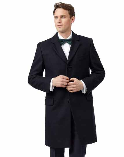 Navy Italian wool and cashmere overcoat