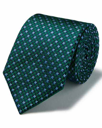 Green silk three colour puppytooth stain resistant classic tie