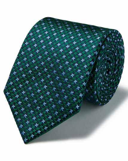Green silk three colour puppytooth stain resistant tie