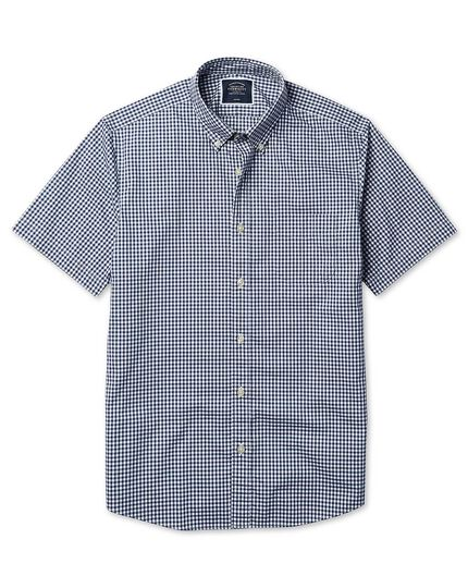 Classic fit short sleeve soft washed non-iron stretch poplin gingham navy shirt