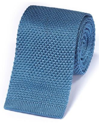 Blue silk knitted classic tie