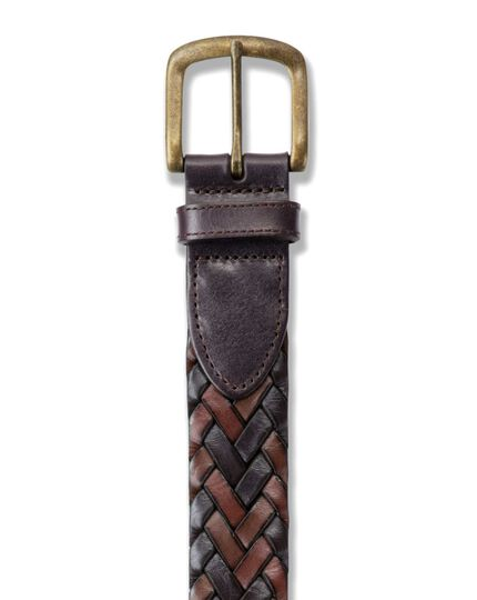 Brown casual plait belt