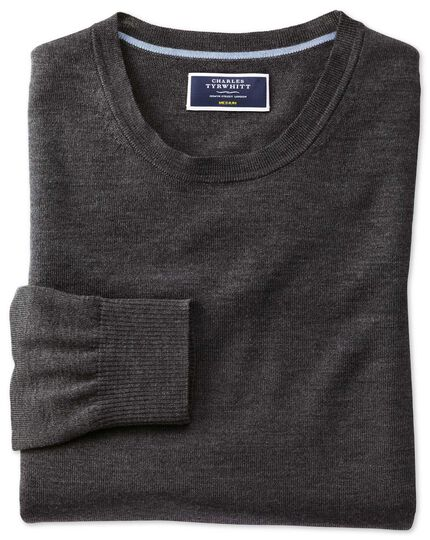 Charcoal merino wool crew neck jumper