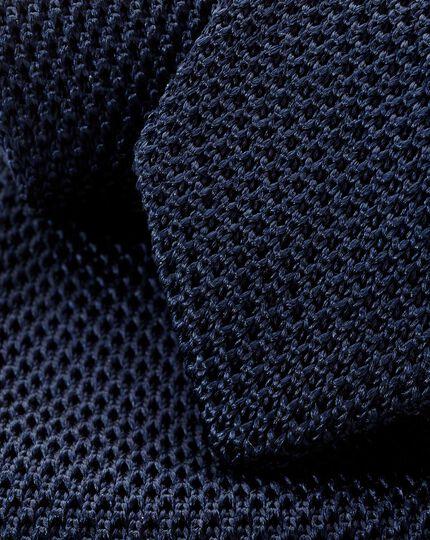Silk Slim Silk Knitted Tie - Navy