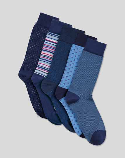 Patterned Socks Gift Box Set - Blue Multi