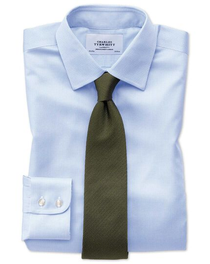 Extra slim fit non-iron puppytooth sky blue shirt