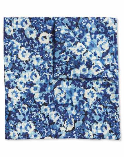 Blue multi floral cotton silk print pocket square