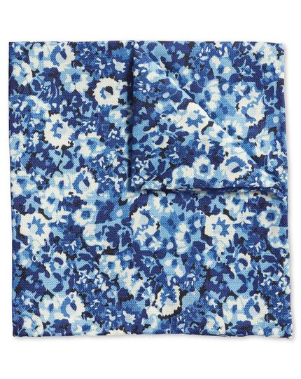 Blue multi floral cotton silk print pocket square