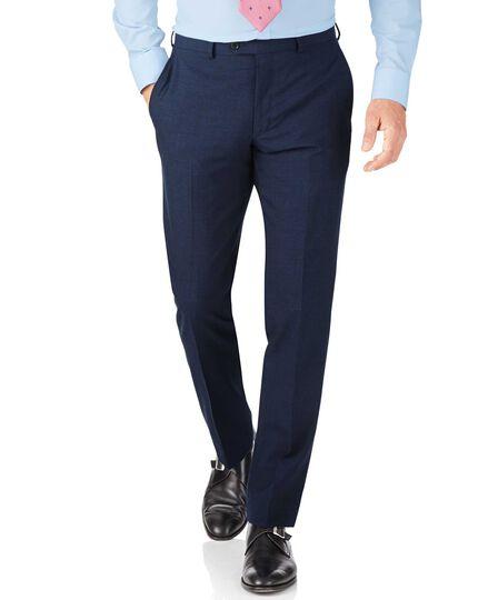 Indigo blue puppytooth slim fit Panama business suit trouser