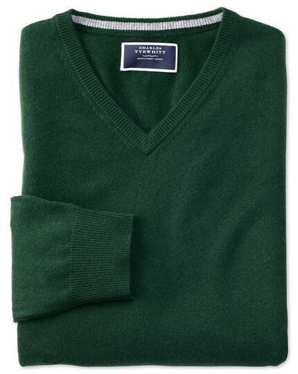Green v-neck cashmere sweater