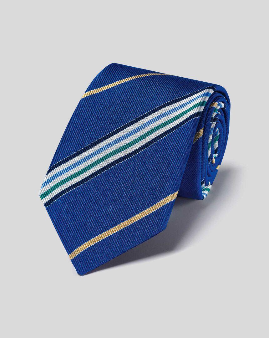 Englische Luxuskrawatte aus Seide mit diagonalen Streifen - Königsblau