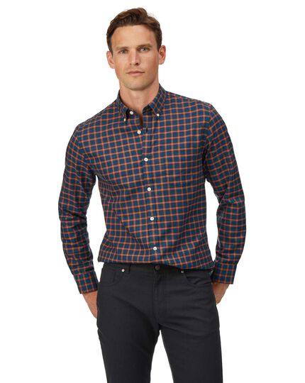 Extra slim fit soft washed non-iron twill navy and orange windowpane check shirt