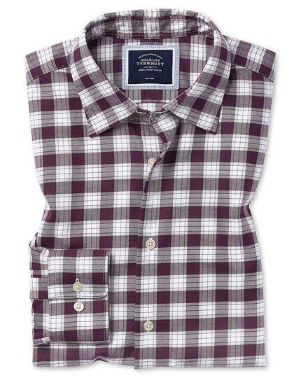 Chemise en oxford stretch soft washed myrtille et blanche à carreaux coupe droite sans repassage