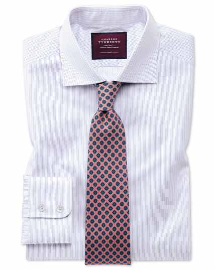 Slim fit luxury fine stripe lilac shirt