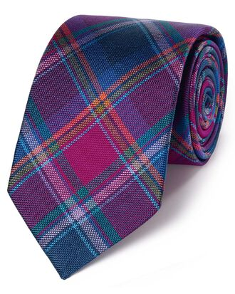 Blue and pink silk check English luxury tie