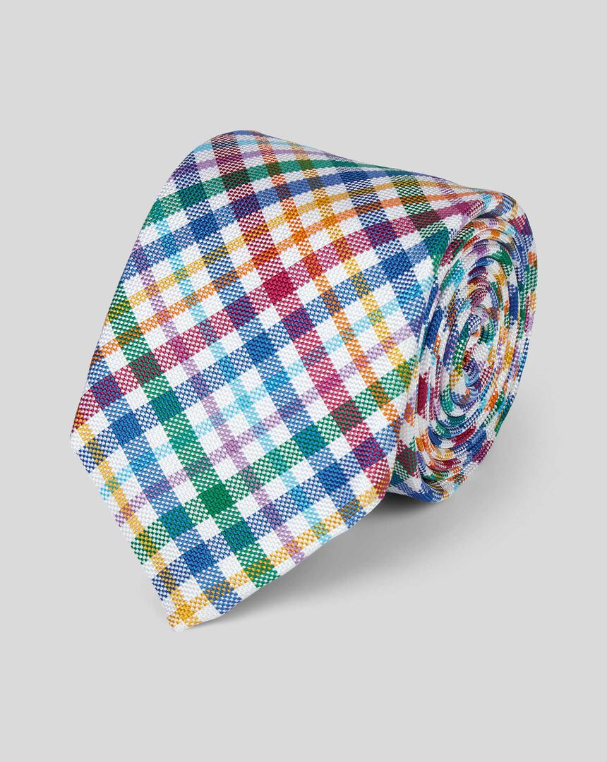Check Silk English Luxury Tie - Bright Multi